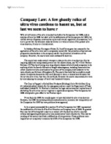 a brief review of the ultra vires doctrine before the companies act 1989 Ultra vires doctrine in the companies act 1965 section associated with the doctrine of ultra vires of the companies act is section 20 (1), 20 (2) (a), (b), (c) and 20 (3) section 20 (1) provides' no action prosecuted as an act ofshall be invalid by reason only the fact that the company does not have the ability or authority to act.
