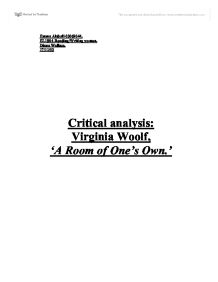 a literary analysis of culture in a room of ones own by virginia woolf Virginia woolf and the search for a room of one's own despite the male-dominated literary culture woolf v, a room of ones own (london, 1928.