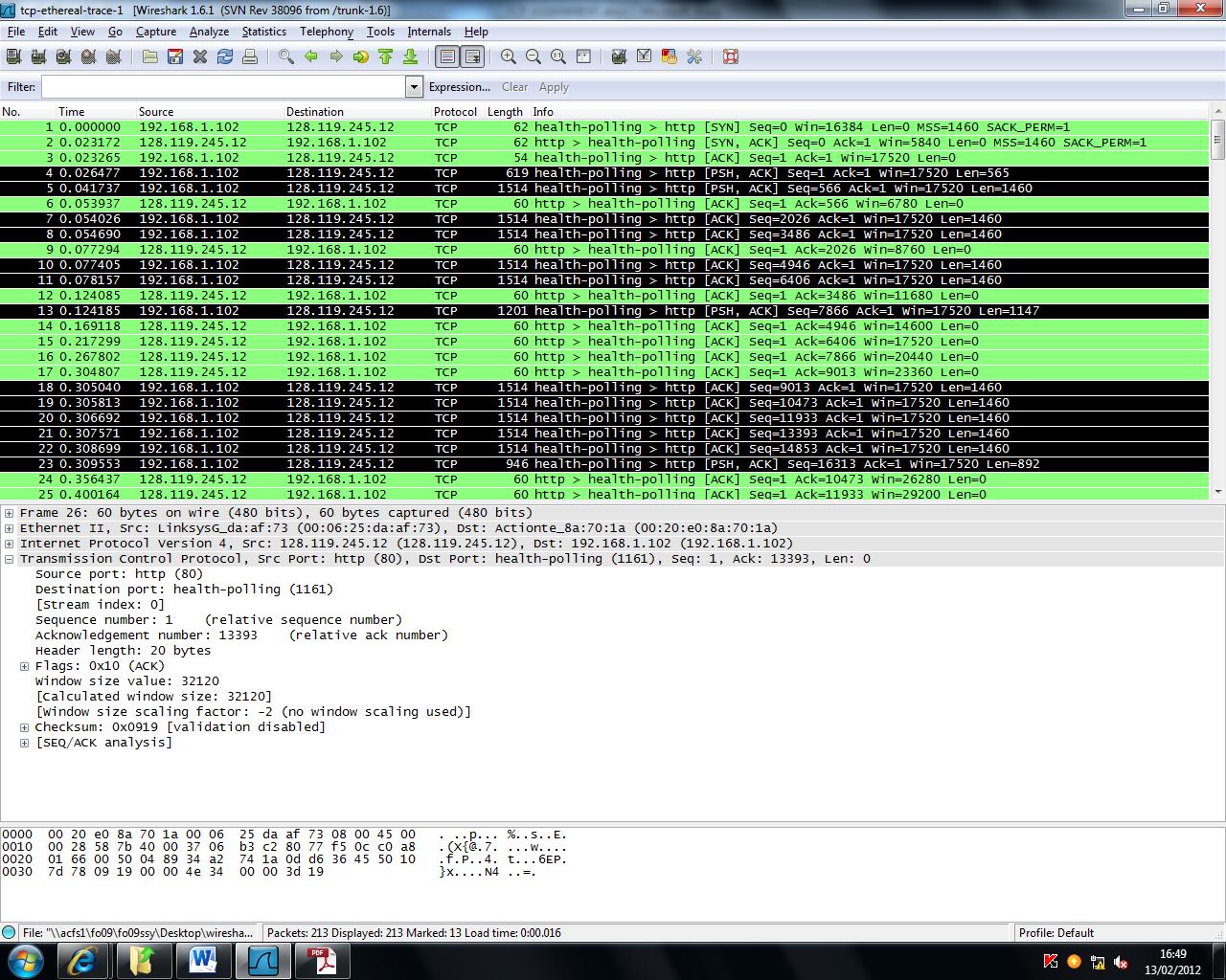 TCP wireshark  This assignment will investigate the