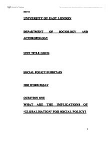 What are the implications of 'Globalisation' for social policy