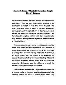 an essay on william shakespeares tragic play macbeth Free essay: william shakespeare's macbeth  the change of macbeth and lady macbeth in william shakespeare's play  in william.